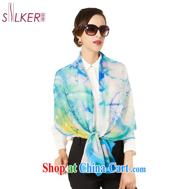 silk industry SIGI new female sauna silk silk silk scarf gradient long towel, scarf shawl two Air Conditioning towels abstract tree shadow blue