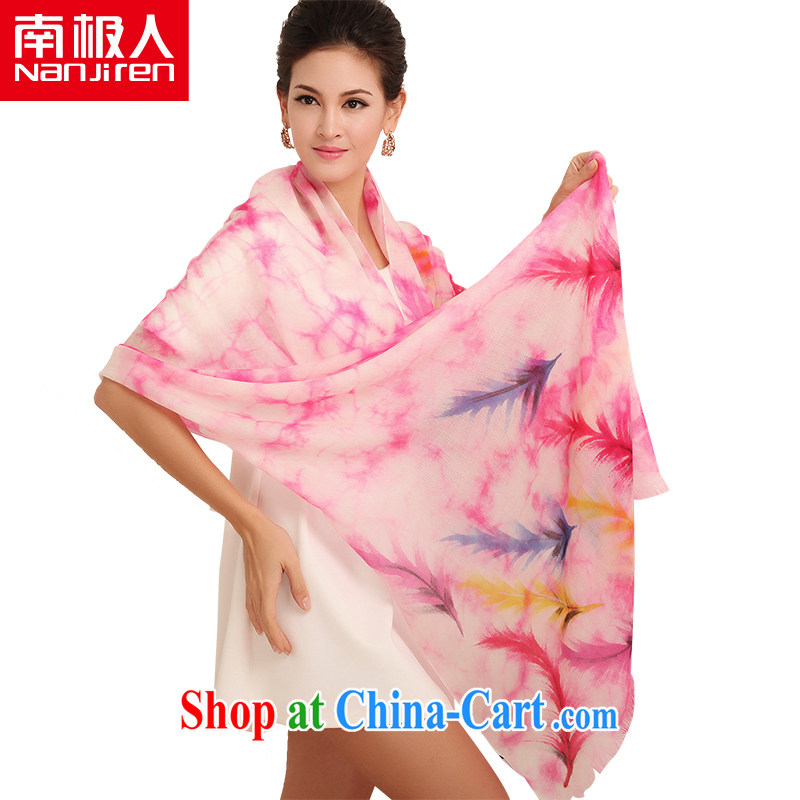 Antarctic (Nanjiren) hand-painted Cashmere scarf autumn and winter long shawl scarf light feathers pink