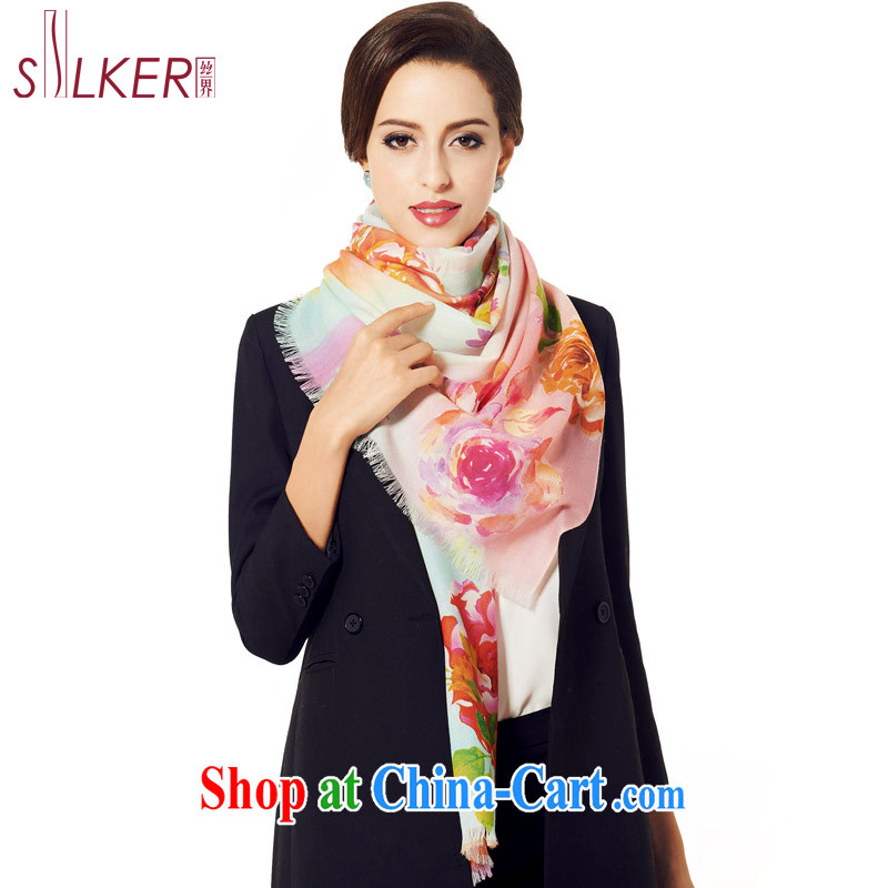 silk industry SIGI fall/winter New Products 100% wool digital poster scarf upscale gift shawl 100 flowers scored first toner