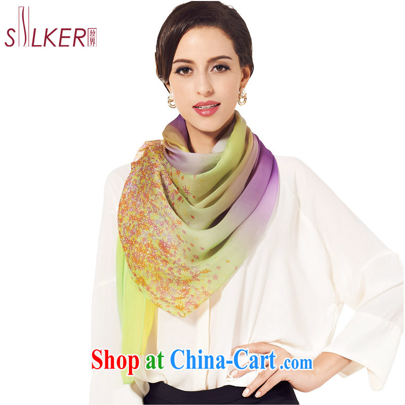 silk industry SIGI sauna silk long silk scarf gradient solid-colored air-conditioning Cape Collision color stylish scarves colorful sky D Green