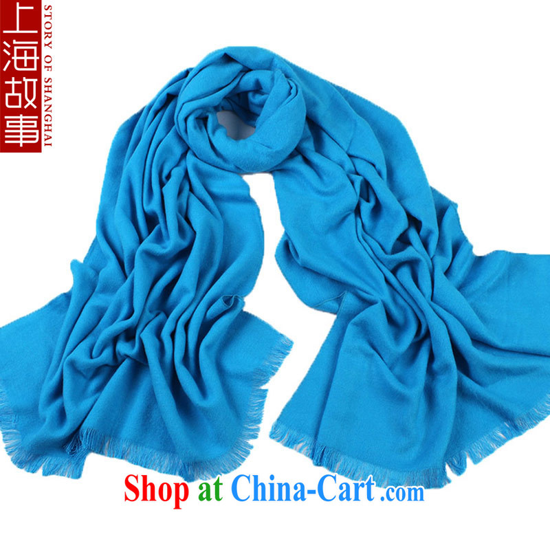 Shanghai Story scarf girl, autumn and winter warm scarf Korean Solid Color 100a shawl light blue