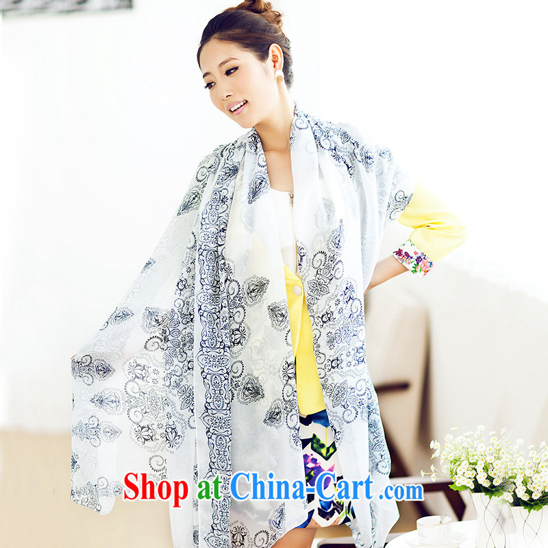 Blue spring 2015 spring and summer new blue and white porcelain snow-woven silk scarf shawl scarf girl blue and white porcelain - Blue