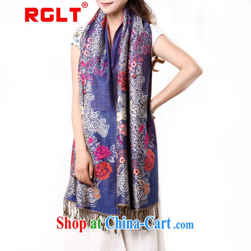 RGLT Ryan, new Perth, floral jacquard flow, warm shawl scarf with two female blue
