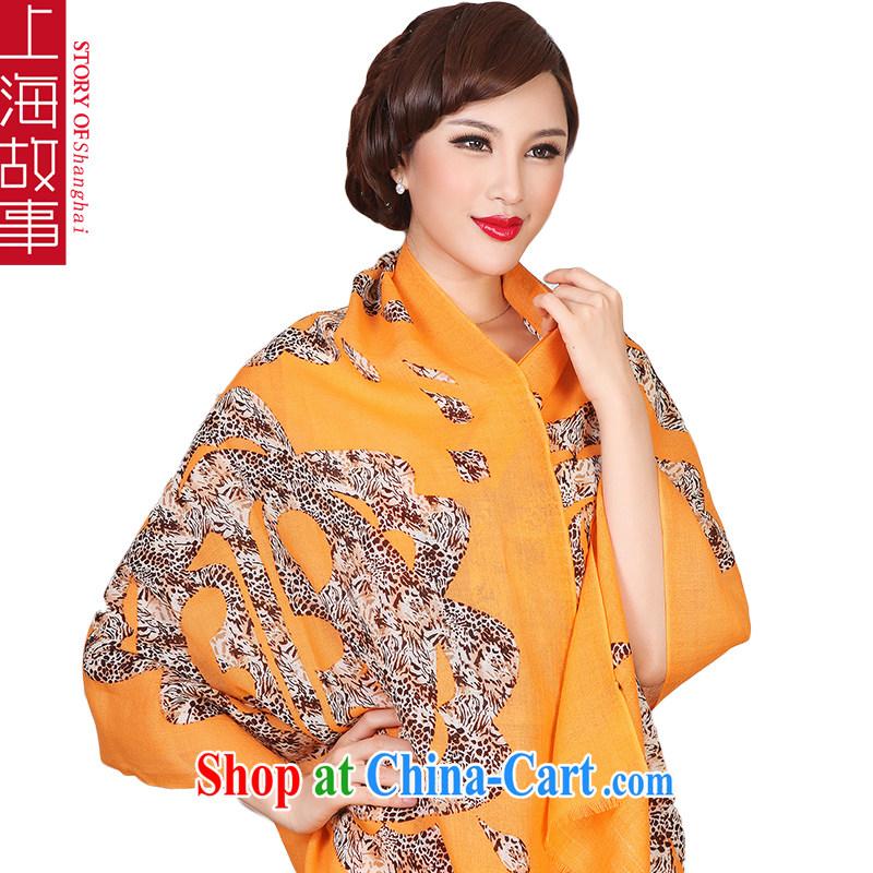 Shanghai Story, scarf pure wool winter warm long-wearing Leopard - yellow