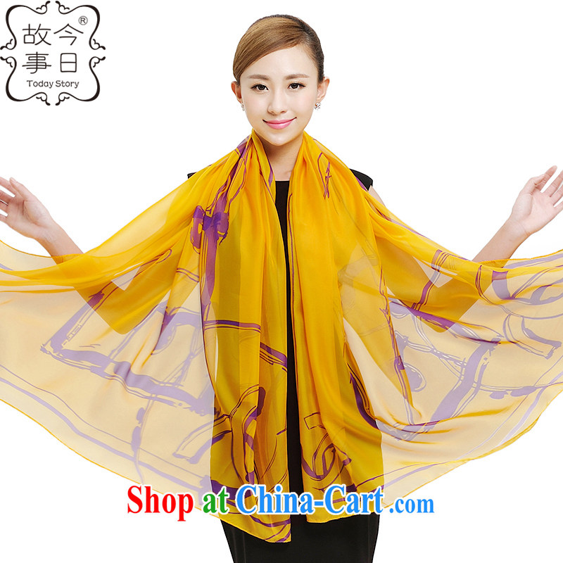 Today's story and stylish ultra-large Korean snow woven sunscreen, beach towels beach towels fall and winter solid-colored stamp shawl scarf girl muslin square 177,020 yellow