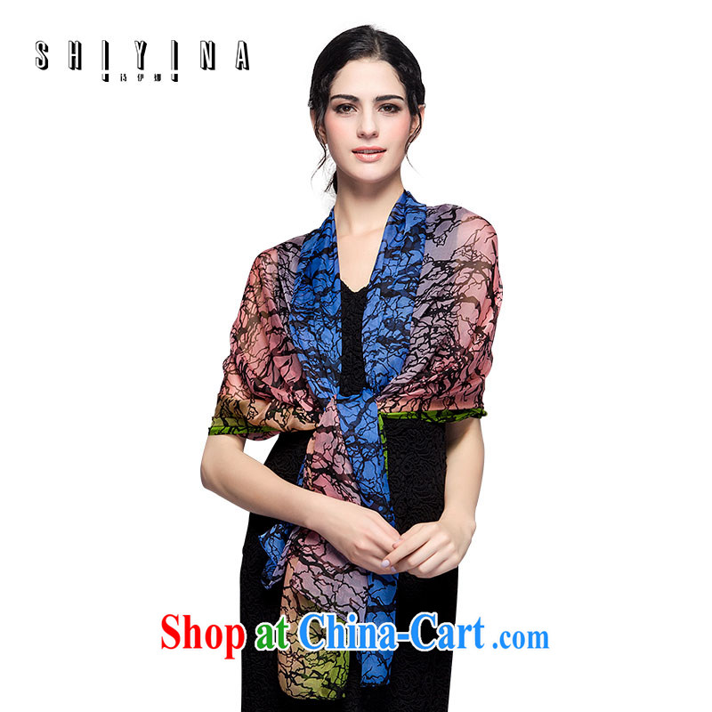 The poetry of spring and autumn silk silk scarf, mulberry silk long scarf shawl scarf stamp stylish floral silk scarf Pink Blue