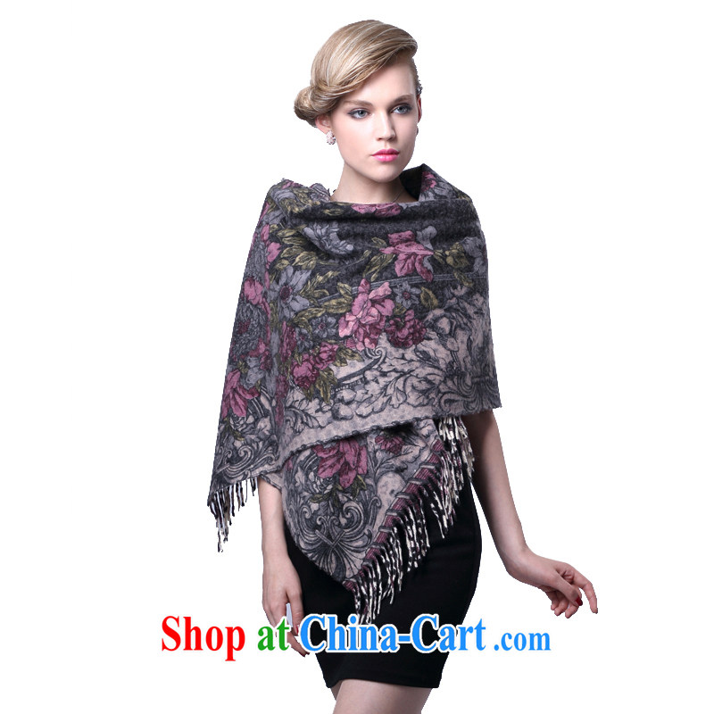 HANG SENG Yuen Cheung-pure wool double-sided dual-color stamp duty, long Cape Air Conditioning shawl (gift boxed) 100 flower scored gray