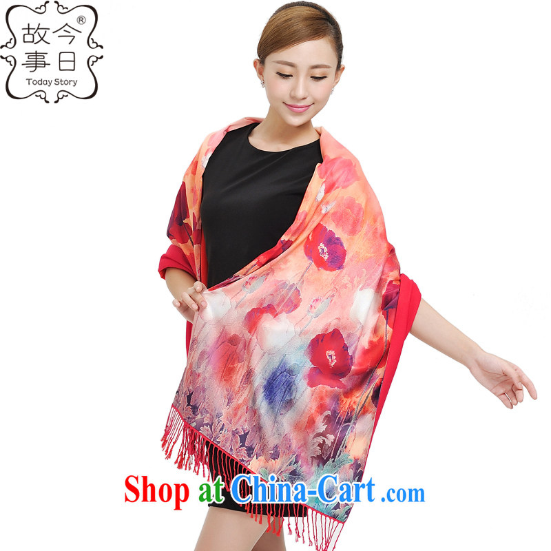 Today's story winter New China wind digital poster sunscreen long silk scarf style lady cotton color, double-sided shawl scarf beach towels 177,024 tulips
