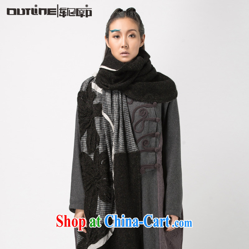 Contour new scarf girl arts 100 ground scarf warm shawl arts General bohemian spell color cotton scarf black