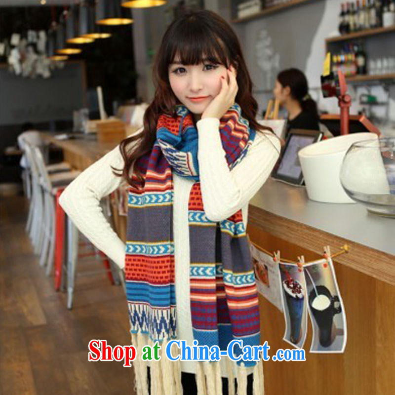 There is close colorful autumn new Korean version thick warm woolen scarf girl Ultra Long Wave, flow, shawl color streaks 280 * 40 CM