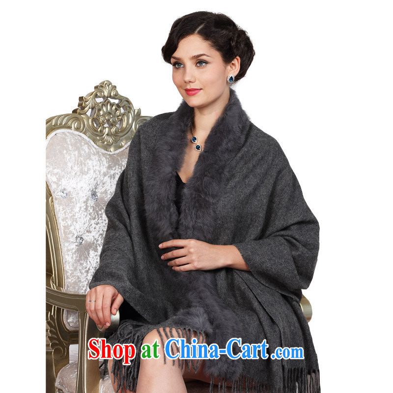 KARENA pashmina shawl scarf the fur shawl girl autumn and winter thicken and increase their gross KN - 2011 dark gray