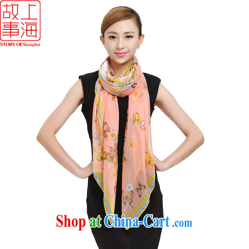 Shanghai Story winter new Womens fashion stylish 100 ground-silk scarf beach towel roll edge stamp Butterfly Dance snow yarn scarf scarf 168,028 meat pink
