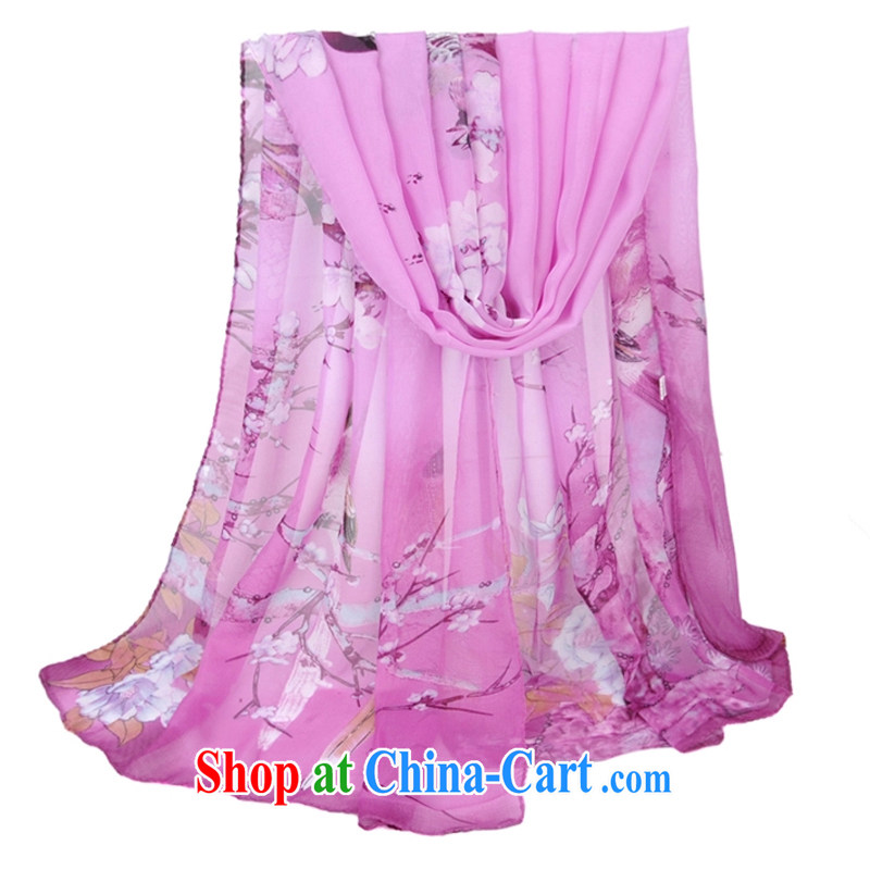 The pixel new scarf female Korean autumn and winter landscape gradient bird figure snow spinning towel with two extra-long tourism silk scarf shawl violet