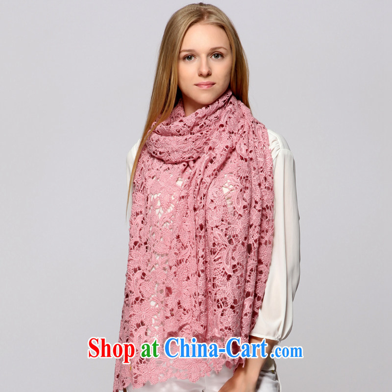 ZIZHEN 14 New Solid Color lace wool winter scarf, shawl two ultra-long Thick pink