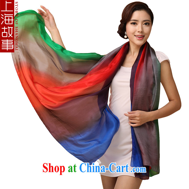 Shanghai Story silk silk scarf girls long sauna silk scarf girl sunscreen spring and summer large 100 Ground Air Conditioning shawl 5-color red-green-blue 2