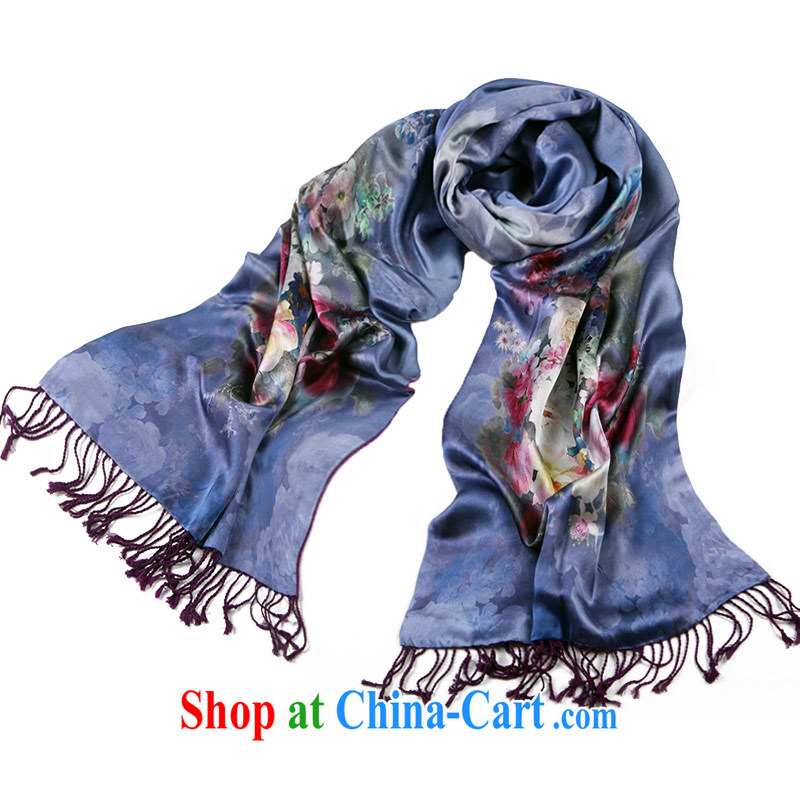 Shanghai Story double-brushed the silk silk scarf girl computer poster scarf warm winter shawl double delicate fragrance fragrant blue