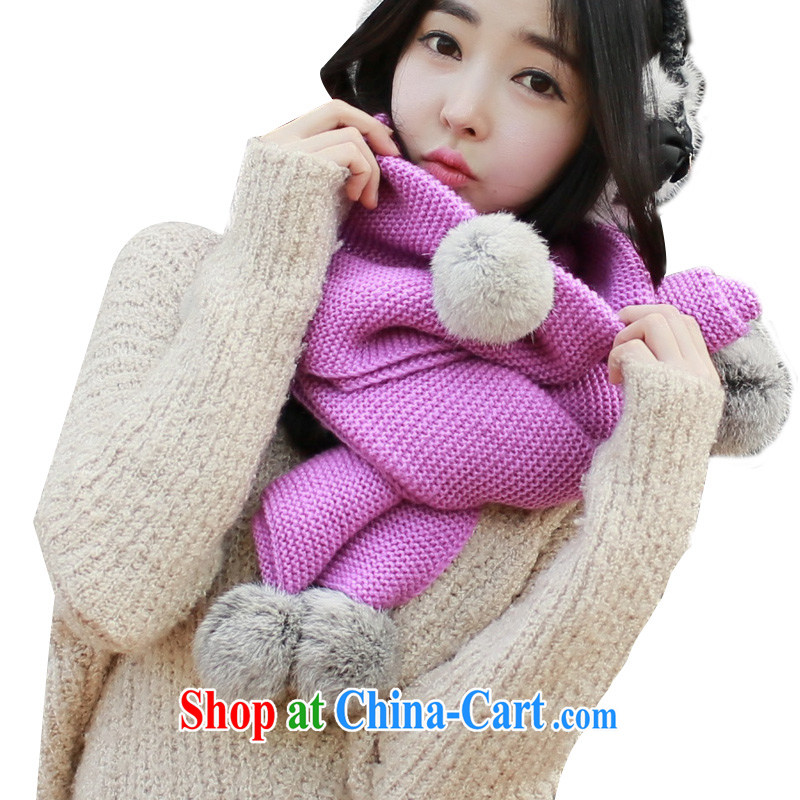 Pink sheep winter scarves, Korean version thick knitting scarf more ball scarf incense line first + Gray ball ball 200 * 27CM