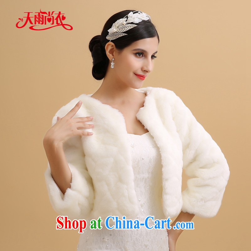 Rain is still clothing bridal wedding dresses wedding jacket warm winter with cuff sub category fur clothes white high gross Fox shawl PJ 095