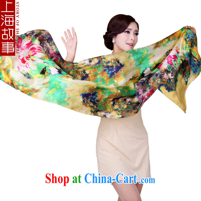 Shanghai Story silk silk scarf girl 100_ sauna silk scarf scarf air-conditioned softness sunscreen Cape beach silk scarf monster stunning colorful glory