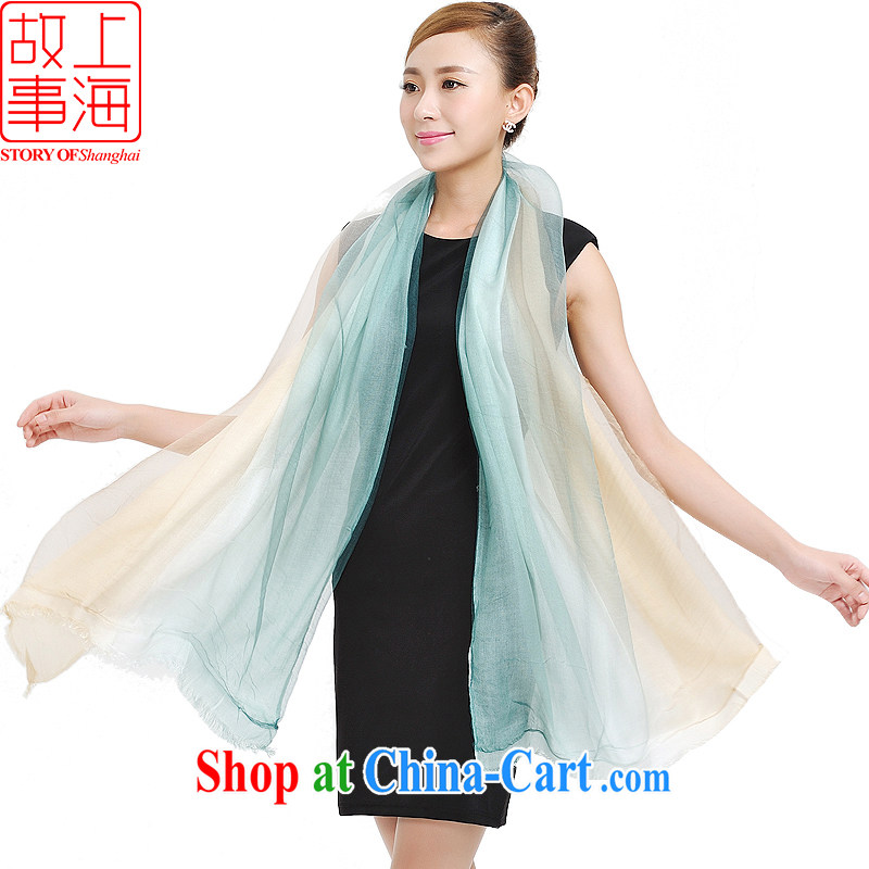 Shanghai Story silk cotton double gradient dyed hair, scarves, winter warm stylish 100 ground double shawl 177,051 m green
