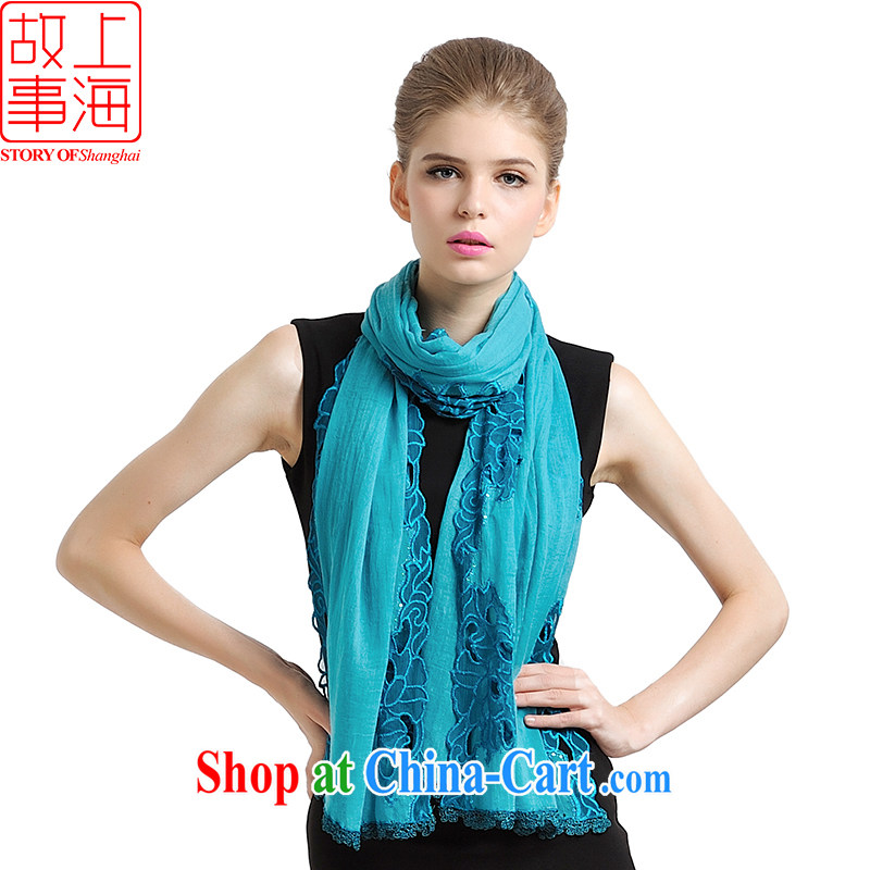 Shanghai Story scarves Solid Color embroidered Openwork shawl Korean version 100 Ms. scarf ground 177,054 blue