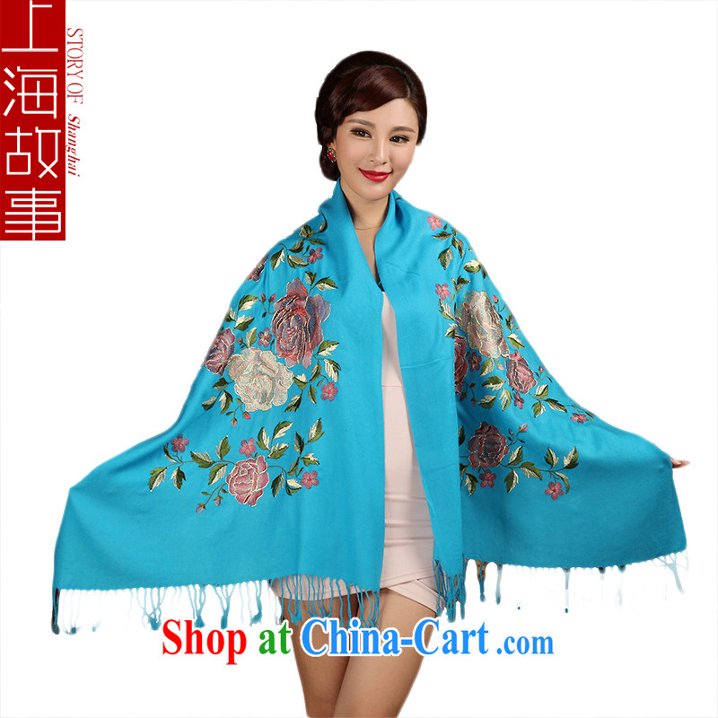 Shanghai Story 2014 winter New Fleece scarf, spring shawl scarf, Peony blue
