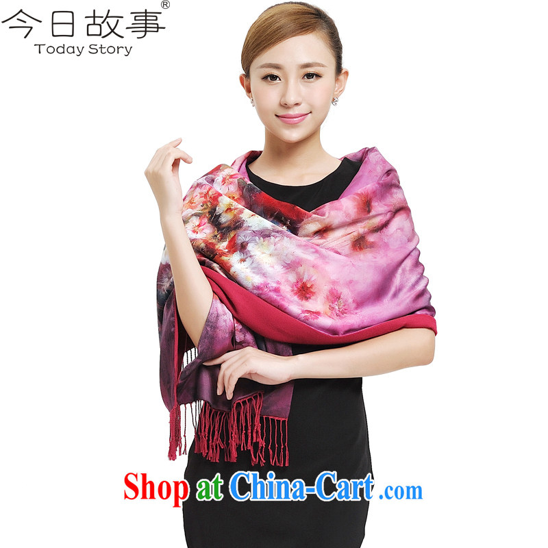 Today's story, winter scarf long silk scarf style lady cotton color, double-sided shawl scarf J 4127 oil painting - Flower