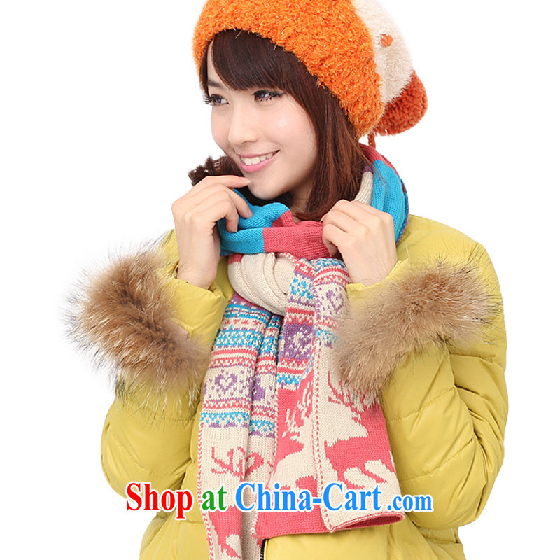 Song Shinille knitting scarf girl Korean autumn and winter Korean male and scarf winter knitting thick-year Youth deer scarf watermelon red