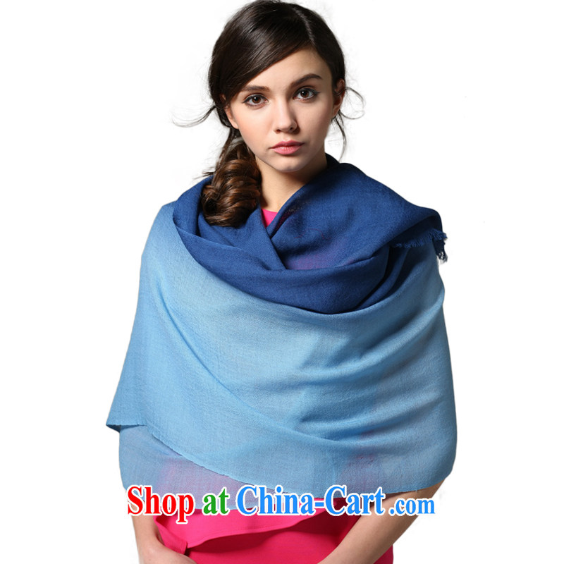 Gradient CHEGEE pure wool scarf shawl to the female warm gifts blue gradient