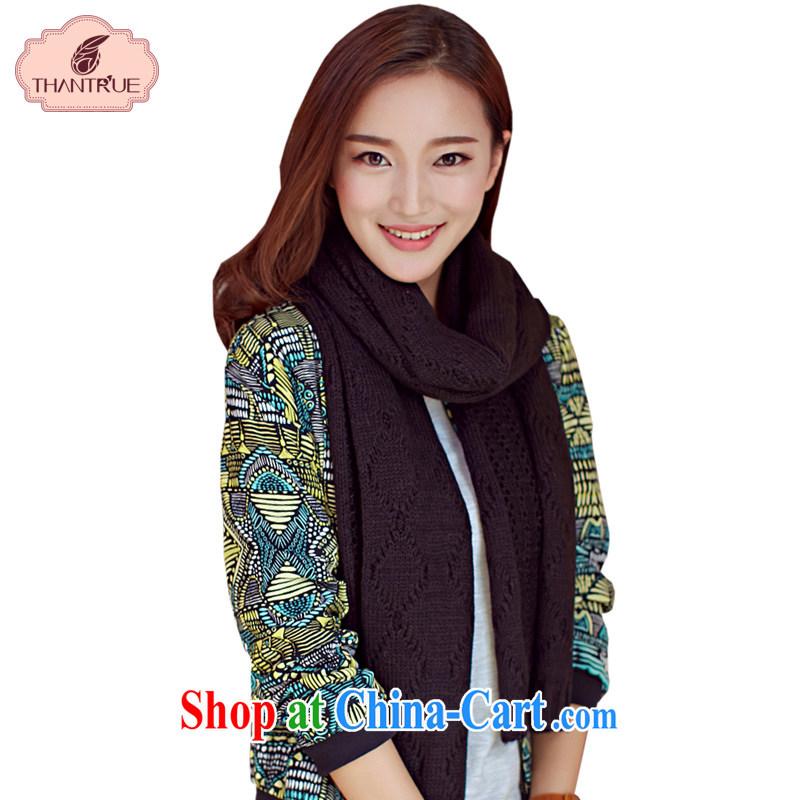 Thantrue really enjoy a Korean couple knitting scarf autumn and winter tartan warm woolen scarf, Openwork knitting W 231 black