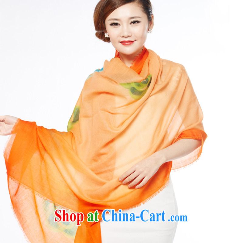 Shanghai Story new warm scarves 300 weaving cashmere, hand-painted pashmina shawl orange