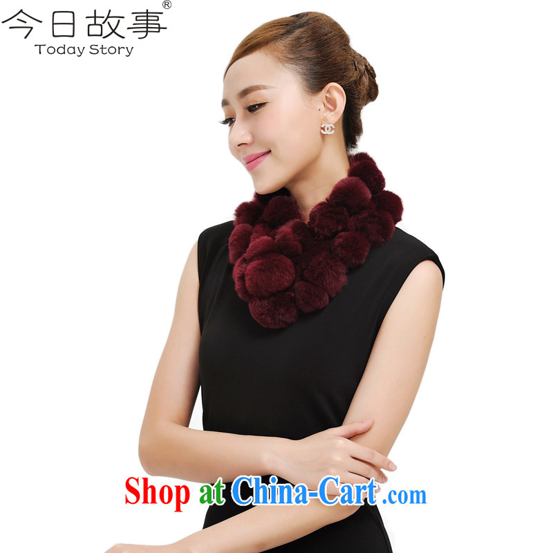 Today, Ms. story scarf sweet conventions 28 ball Seto rabbit hair scarves J 4131 wine red