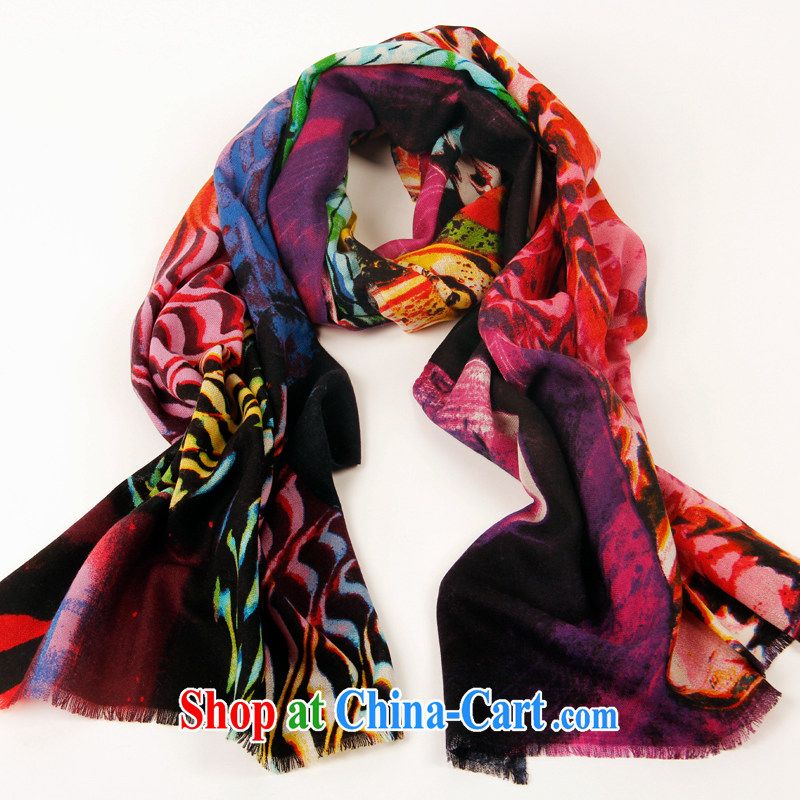 Shanghai Story, comfortable warm-stamp thick pure wool scarf shawl red and blue