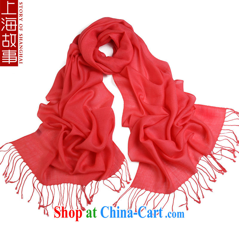 Shanghai Story wool scarf girl, autumn and winter warm scarf Korean pixel color 100 ground shawl long watermelon red