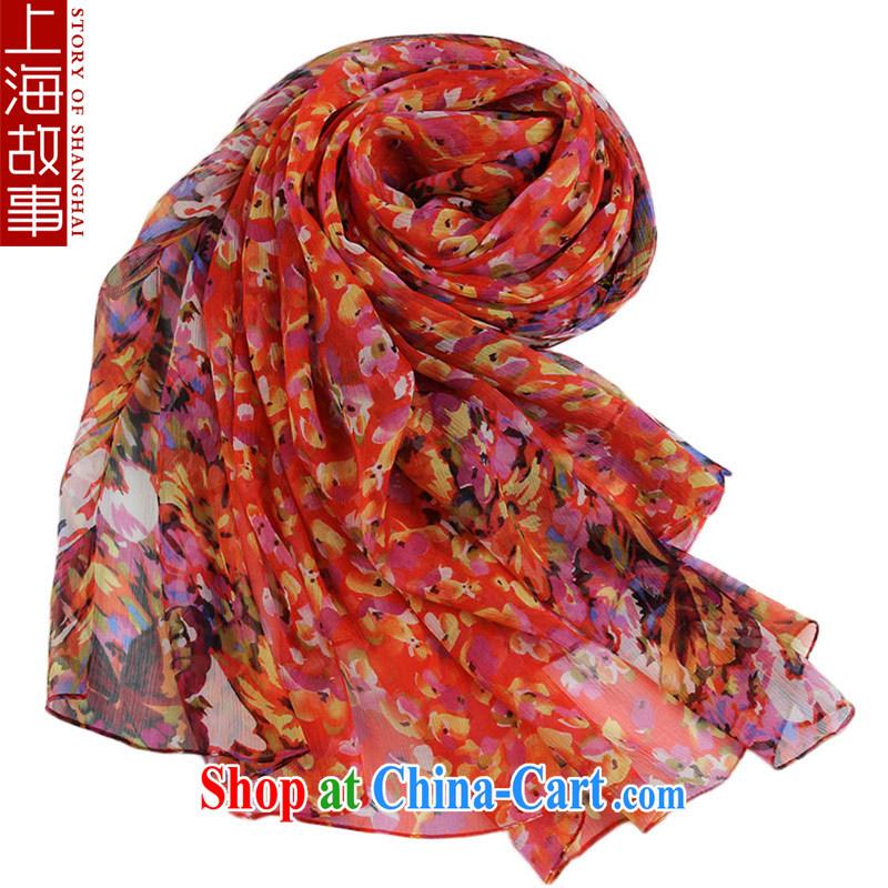 Shanghai Story silk silk scarf girl summer sunscreen Leopard flower scarf 100 ground beach air-conditioning Cape 14, spend
