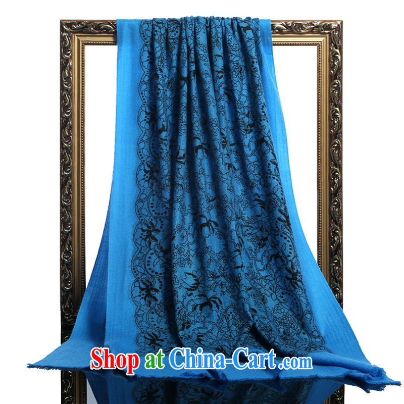 HANG SENG Yuen Cheung-Cashmere wool, stamp duty and widen long scarf, shawl gift blue stamp