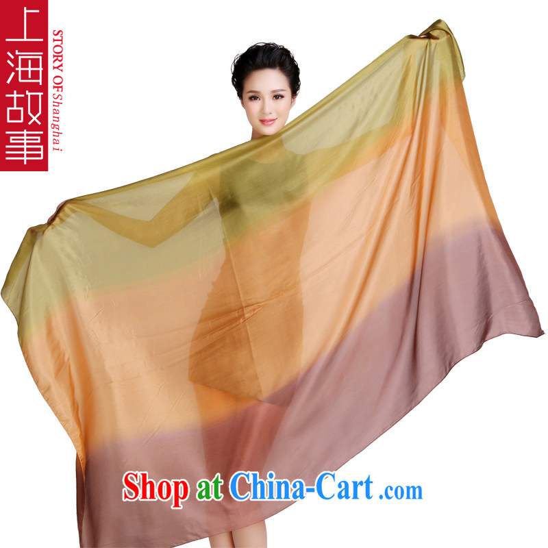 Shanghai Story silk silk scarf woven ocean gradient spell color sauna silk silk scarf, silk scarf shawl two ultra-large aircraft collision color green curry