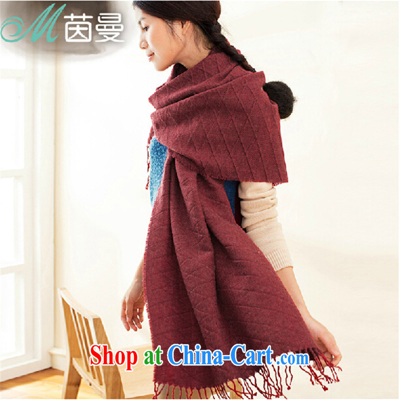 Yan, autumn and winter scarves Solid Color plaid girls scarves 100 ground arts knitted warm shawl scarf electoral 844140042 -- amber red