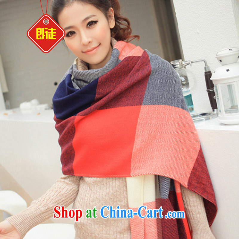 Yuen Long and 2014 winter warm new grid Extralong stream Ms. Su shawl stylish Korean popular emulation cashmere red and blue checkered ultra-soft and comfortable warm