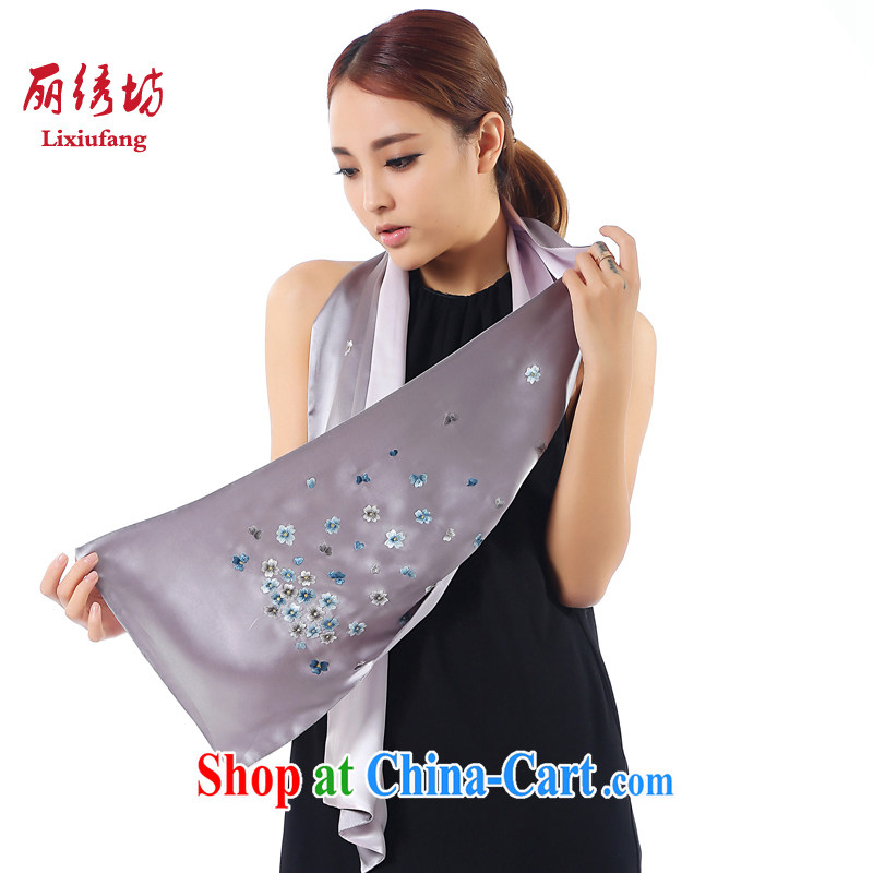 Beautiful embroidered square new upscale style, 100% sauna silk silk scarf hand embroidery real art embroidery scarf shawl dark gray