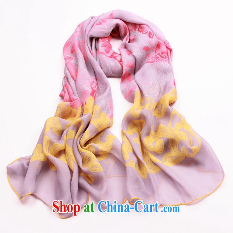 Spring and Autumn silk scarf, Korean Super snow spinning towels long winter sauna silk silk scarf shawl flowers, gray