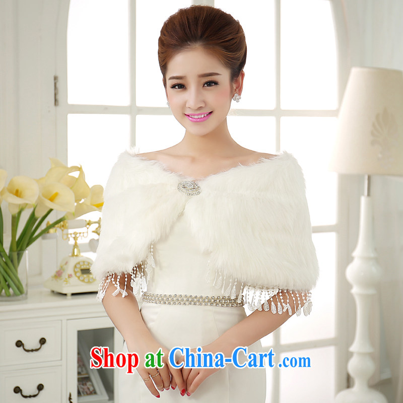 A good service is a 2015 new winter version won the gross bridal wedding dresses flow Su shawl thick warm white