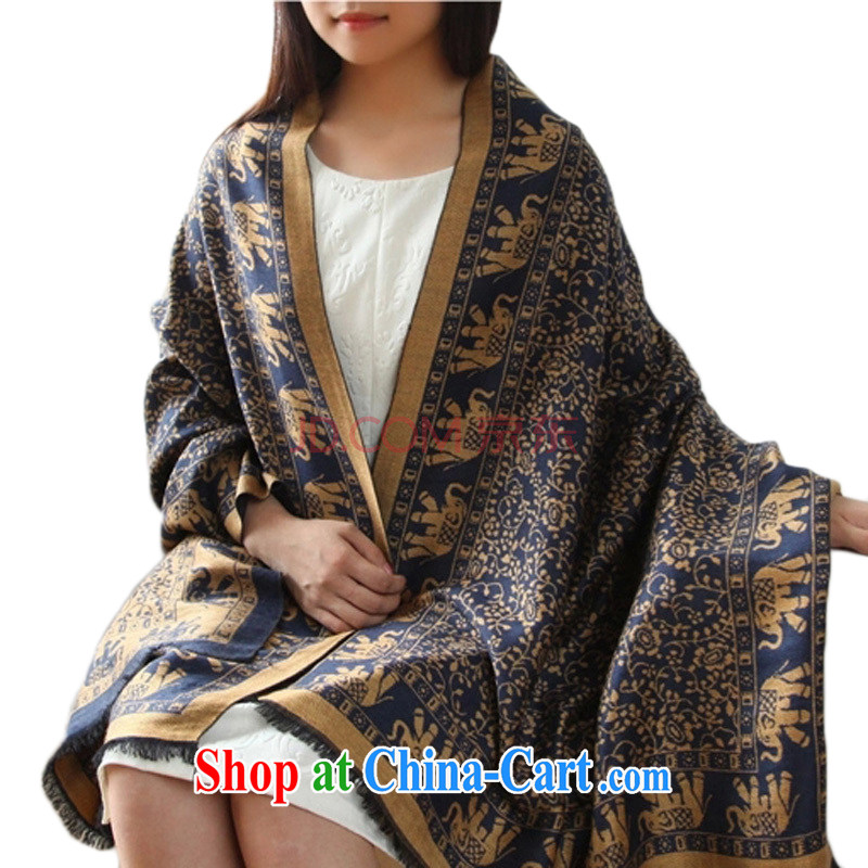 Autumn and Winter, National jacquard ultra-large size heat sink deck, warm scarf shawl two ultra-long WH 406 fan, - coffee color