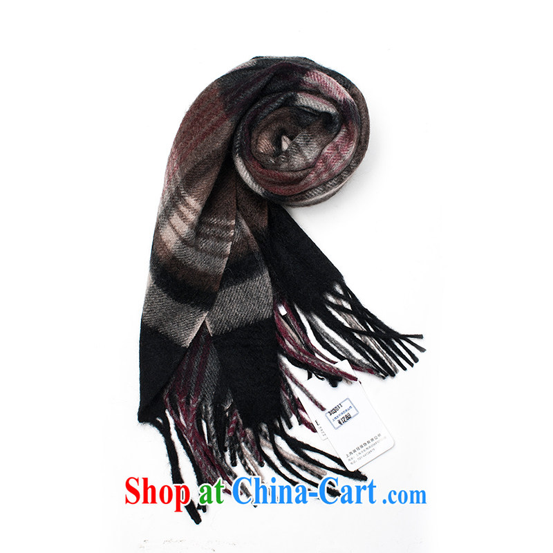 ELLE winter cashmere tartan WEP 13 - 43 - 707 European and American long popular flat-knit scarf girl deep coffee color