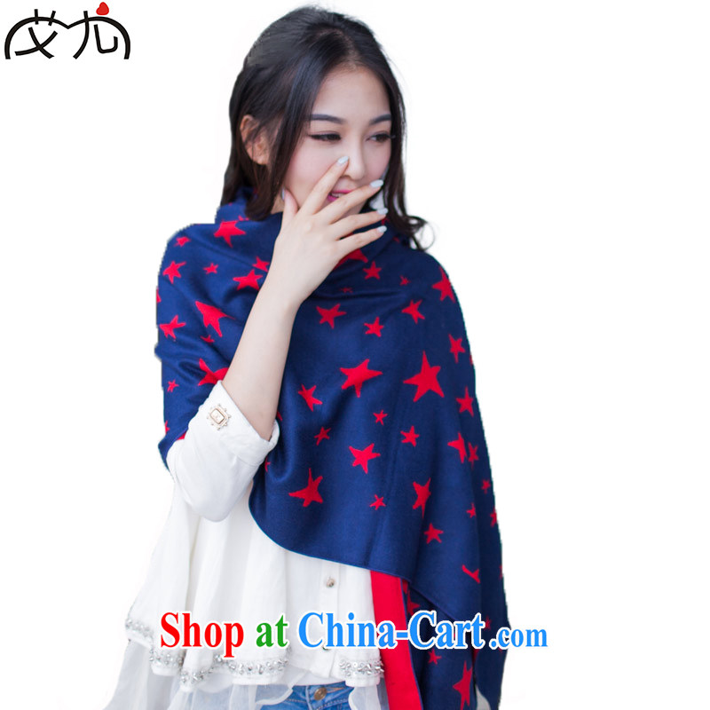 AIDS is a good feeling 2014 autumn and winter South Korea two-sided so warm 5 stars corner large scarf shawl scarf girl blue and red
