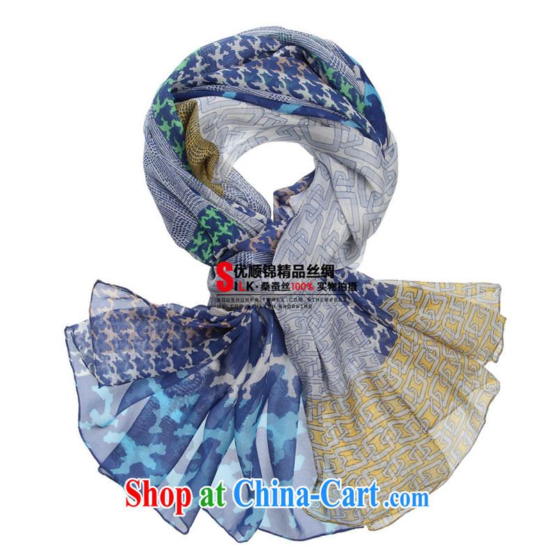 Optimize Shun Kam 100 % sauna silk scarf, Joe its silk silk scarf 1000 birds, boutique long beach towel Cape style sky blue