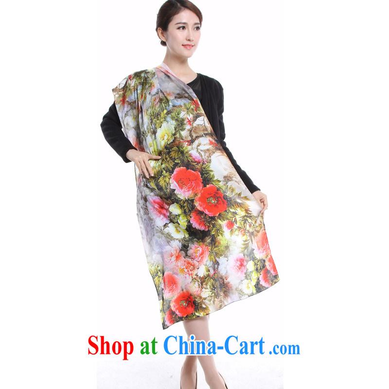 Micro-The impression spring 2015 new female high long silk scarf shawl scarf sauna silk stamp silk stylish 100 ground silk scarf girl coffee-colored mountain stream 615