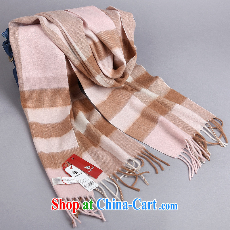 Hong Kong profits the autumn and winter thick British Grid 100% wool scarves men and women couples students warm scarf pink, scarves
