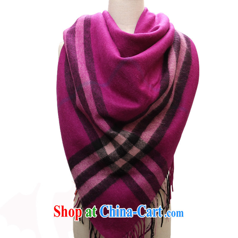 Shanghai Story wool and classy towel thick long Korean grid autumn and winter warm scarf shawl mauve.