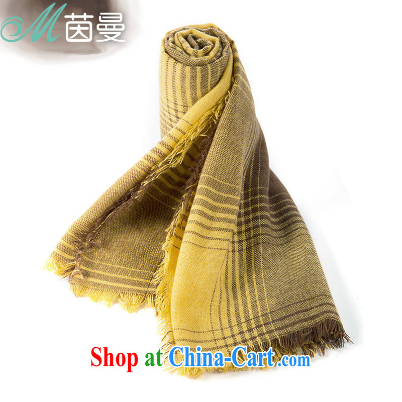 Yan, autumn and winter scarves Gradient Color classic stripes playful edges arts 100 844140076 ground turmeric yellow